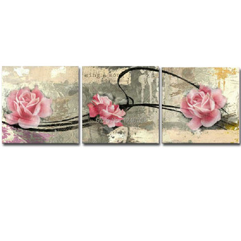 Hand Painted Abstract Three Pieces Peony Flower Canvas Oil Painting Abstract Peony Wall Art Picture Living Room Home Wall Decoar