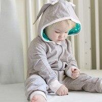 MUQGEW  Baby Girl Boy jumpsuit newborn clothes Rabbit 3D Ear Hooded Romper Jumpsuit Winter clothes rompers pajacyki roupas menin Baby Rompers
