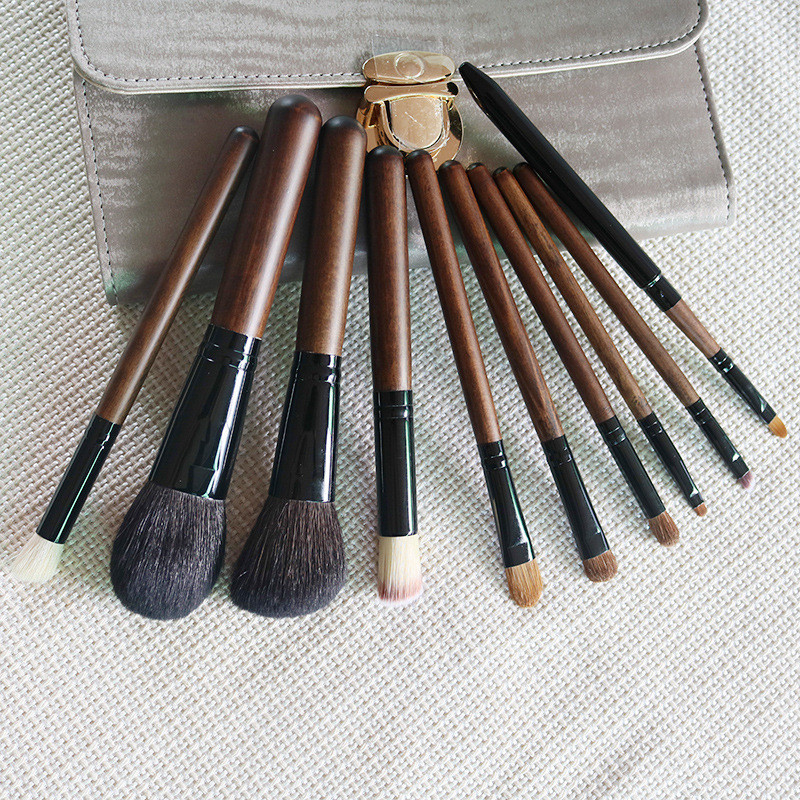 10pcs/Sets New Makeup Brush, Wool Makeup Brush Red Sandalwood, Wood Brush, Makeup Tool Set, Beauty Beauty Essential 1set new 4 in1 makeup beauty diy facial face mask bowl brush spoon stick tool set