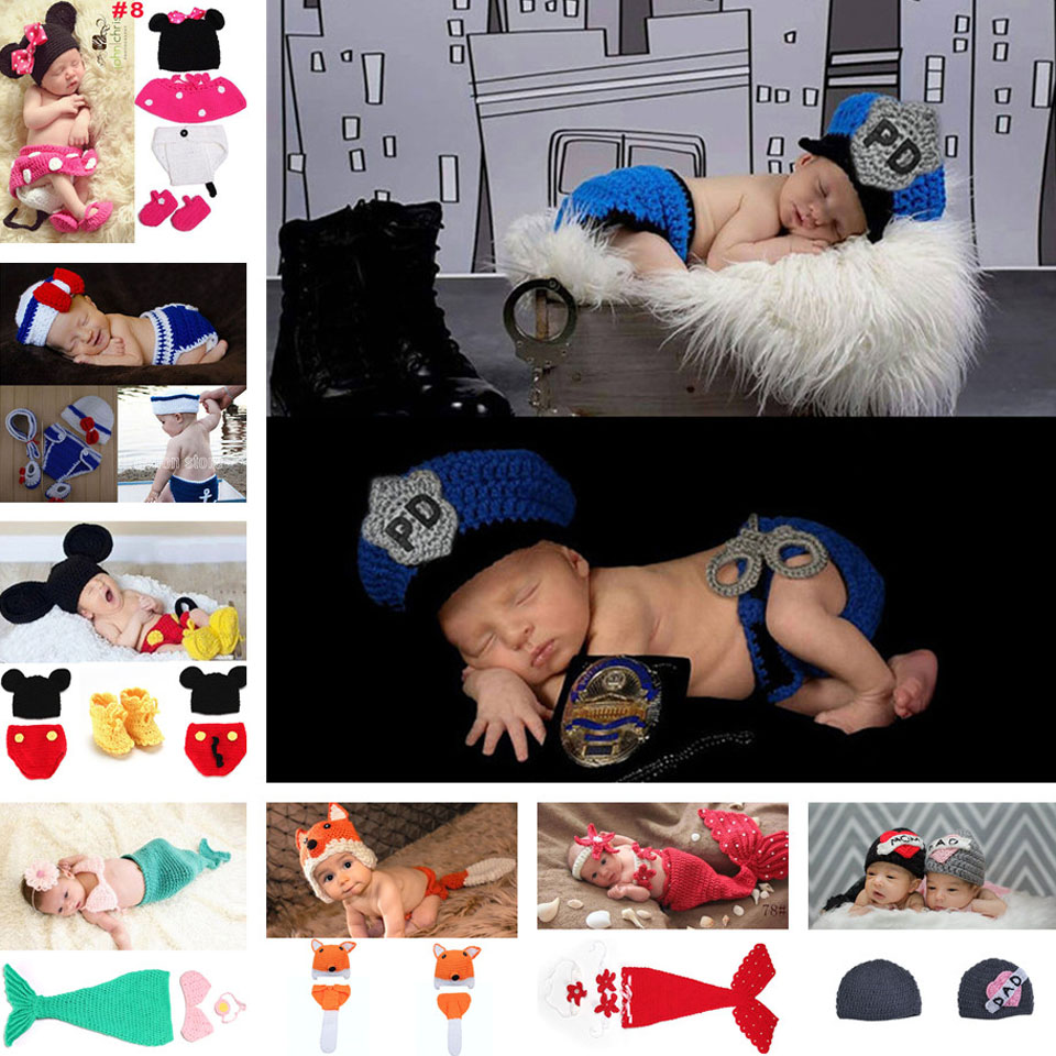 Crochet Newborn Baby Police Outfit Hat&diaper with handcuffs Knitted Baby Boy Photo Prop ...