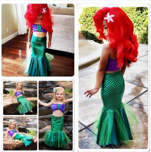 4 costumes for baby girls princess ariel dress The little Mermaid Ariel princess Cosplay Zeemeerminstaart costume mermaid dress