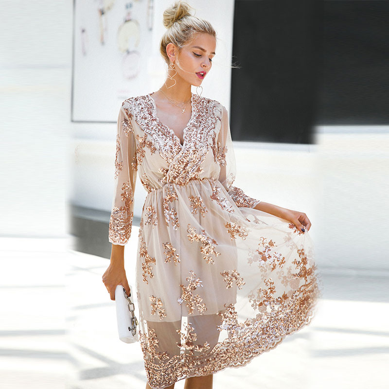 ZOGAA Sexy Dress Women 2019 Spring Summer V-neck Sequined A-Line Party Dresses Casual Female Mesh Streetwear Midi Vestidos