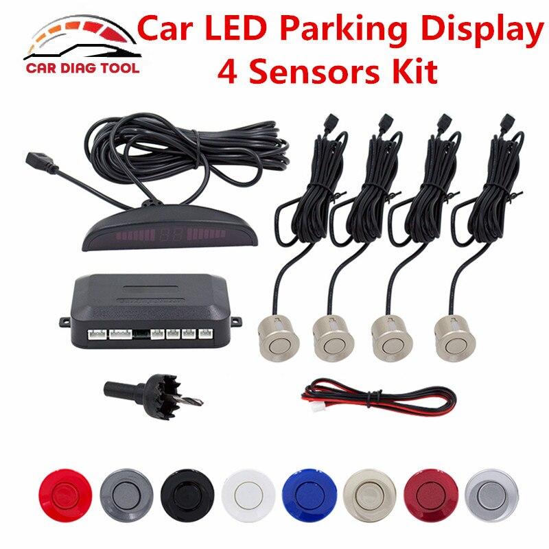 imágenes para Mejor Sensor De Aparcamiento Kit Auto Car LED Display 4 sensores Para Todos Los Coches Asistencia Inversa Monitor de Reserva Del Radar del Estacionamiento sistema
