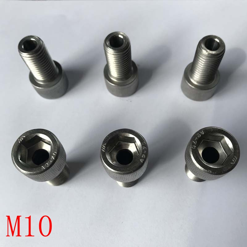 Stainless steel <font><b>hollow</b></font> hexagon socket head <font><b>screw</b></font> <font><b>hollow</b></font> bolt lamp threading <font><b>screw</b></font> through hole <font><b>M10</b></font> length 55mm 70mm image