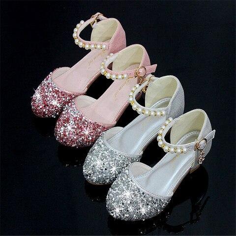 criancas menina contas de cristal sapatos meninas sapatos de danca de salto alto festa princesa
