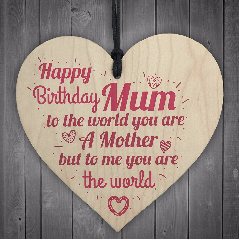 1PC Happy Birthday Mum Wooden Heart Mummy Funny Special Card Baby Son Daughter Love Gift Christmas Home DIY Decorations