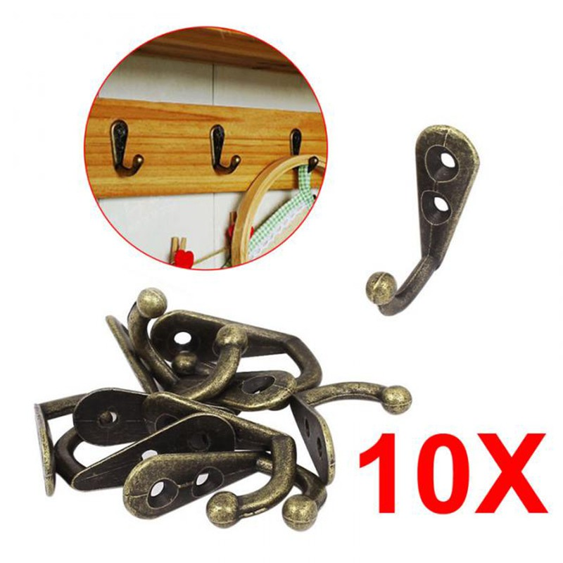 Hot Sales 10pcs Home Hooks Bronze Vintage Style Wall Mounted Single Hook Hangers Storage Organizer Wall Mount 2018