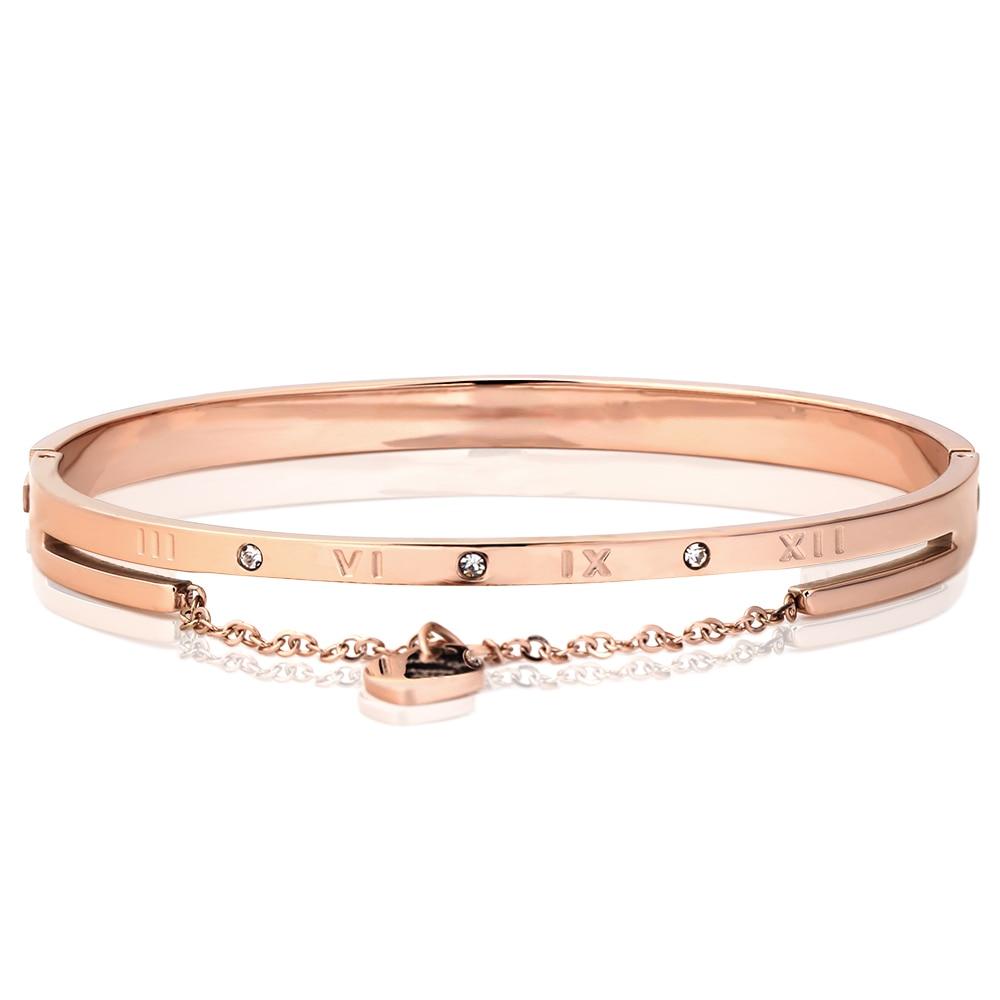 Heart Charm Elegant Bangle Bracelet For Women Rose Gold Color Stainless Steel Stellux Austrian Crystal With Roman Letter