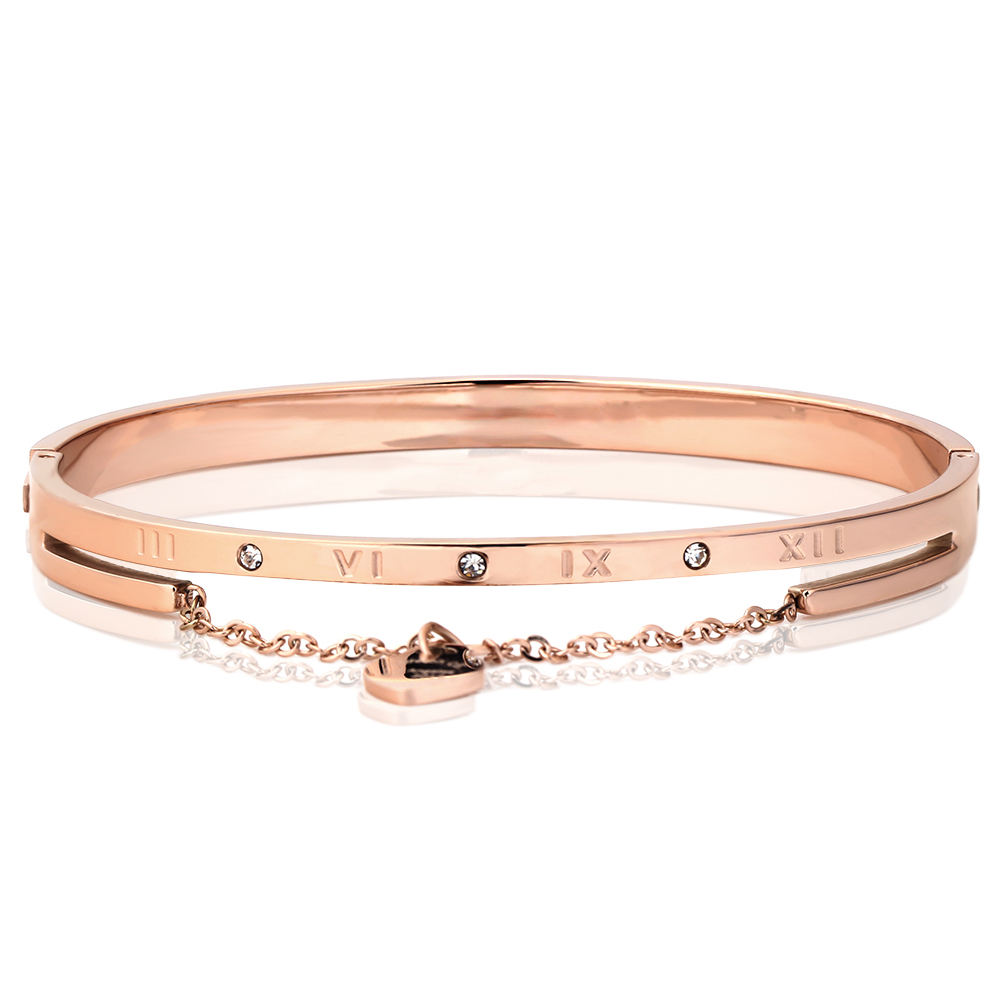 Heart Charm Elegant Bangle Bracelet For Women Rose Gold Color Stainless Steel Stellux Austrian Crystal With Roman Letter chic letter heart pattern decorated bracelet for women