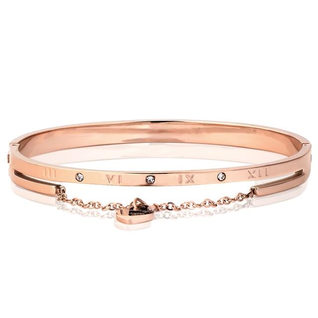 Heart Charm Elegant Bangle Bracelet For Women Rose Gold Color