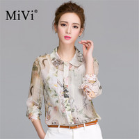 2017 Women Shirt Vintage Long Sleeve Blouse Owl Floral Blouses OL Shirts Casual Thin Blouse Tops