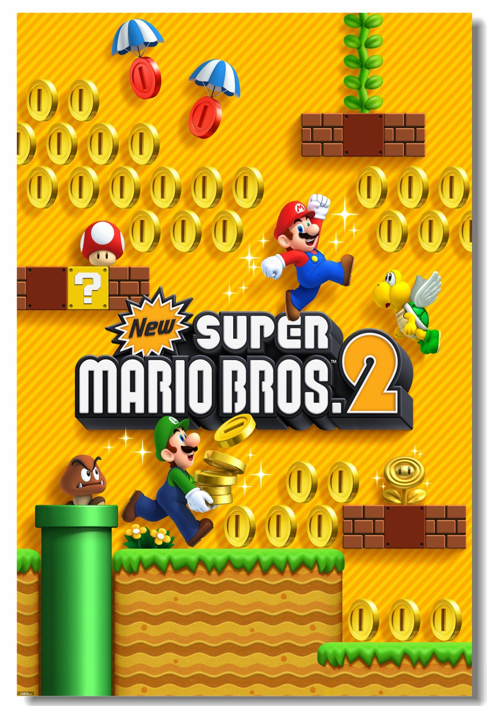 Custom Canvas Wall Decor Super Mario Bros 2 Poster Super Mario