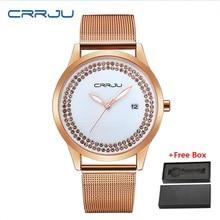 New 2019 CRRJU Women Watch Small Fashion Casual Rose Gold Ladies Gift Watch Woman Rhinestone Watches Women's Quartz Wrist Watch все цены