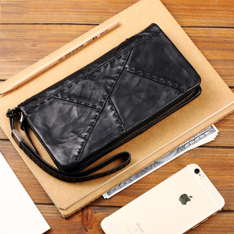 Cow Genuine Leather Men Wallet Clutch Phone Bag Case Luxury Brand Purse For Coins Card Holder Long Male Wallet Zipper Carteira female wallet women purse cute anime cat wallet moman long wallet zipper tassel designer sweet bag for phone card coins holder