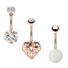 Body Punk New Arrival Belly Button Rings 3 pcs Clear Zircon Rose Gold Heart Navel Piercing Ball Ring Women