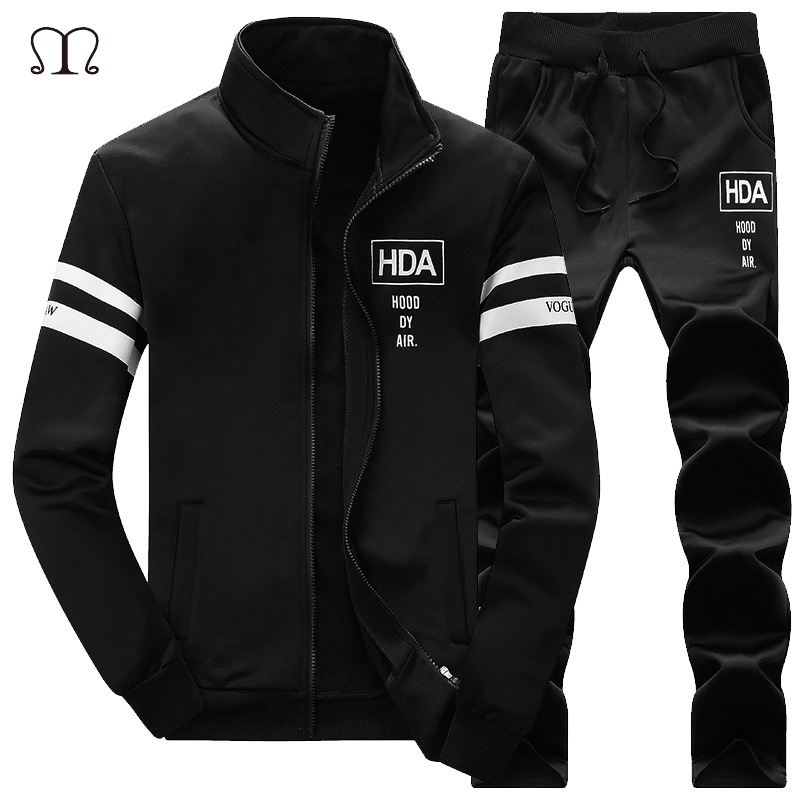 2018 Warm Tracksuit Zipper Hoodies Men's Sportswear Tracksuit Luxury Brand Sportsuits Fashion 2 Piece Mens Clothing Plus Size