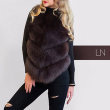 Фотография FURSARCAR Pink real fox fur vest Women Real Fox Fur Vest Female Winter Autumn Genuine Fox Fur Waistcoat Fashion Coat BF-V0115