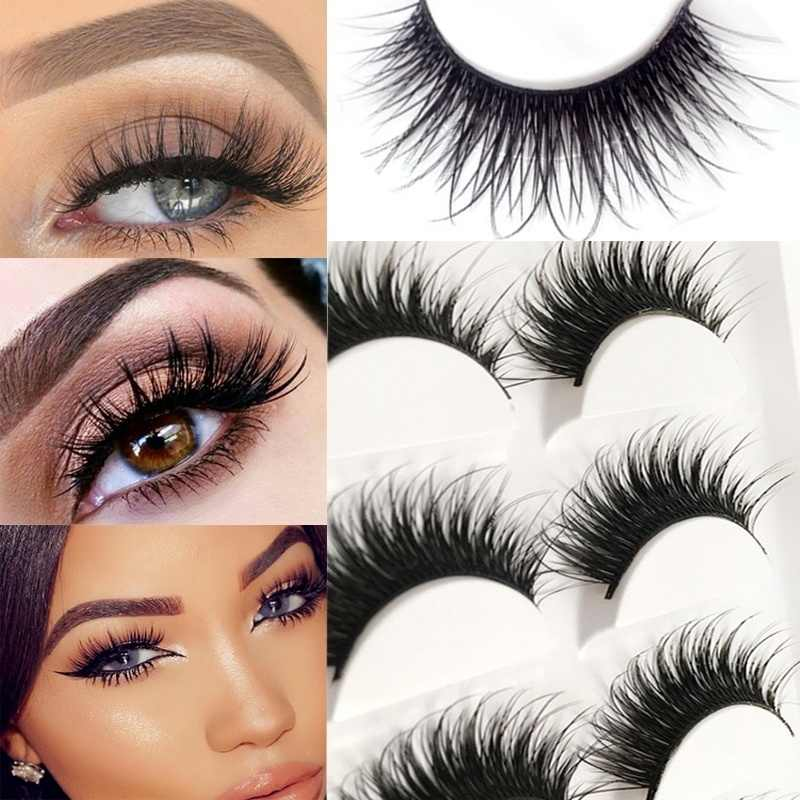 5Pair/Set Women Eye Makeup Tools Accessories 3D False Eyelashes Long Lasting Lashes Natural Lightweight Eyelashes