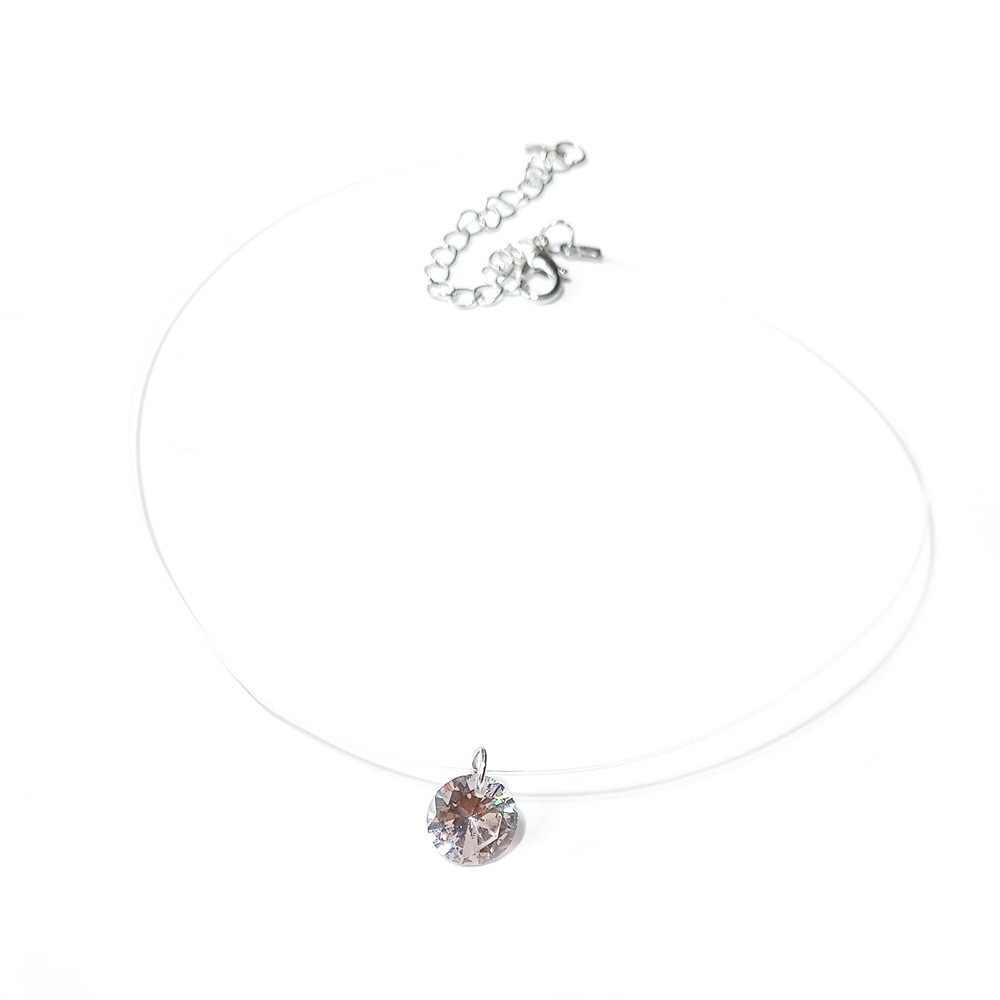 Przezroczysta żyłka wędkarska naszyjnik kobiety Chocker serce niewidzialny łańcuszek choker z kryształem strasem naszyjnik wisiorek na szyi linii