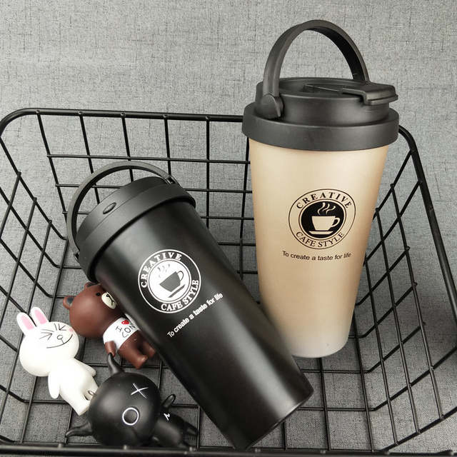 751d85e5ae8 US $10.98 35% OFF|UPORS 500ML Coffee Mug Creative 304 Stainless Steel  Travel Mug Double Wall Vacuum Insulated Tumbler Wide Mouth Tea Cup with Lid  -in ...