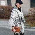 Moda All jogo de lã pura feminino grosso xadrez de outono e inverno quente Dual purpose
