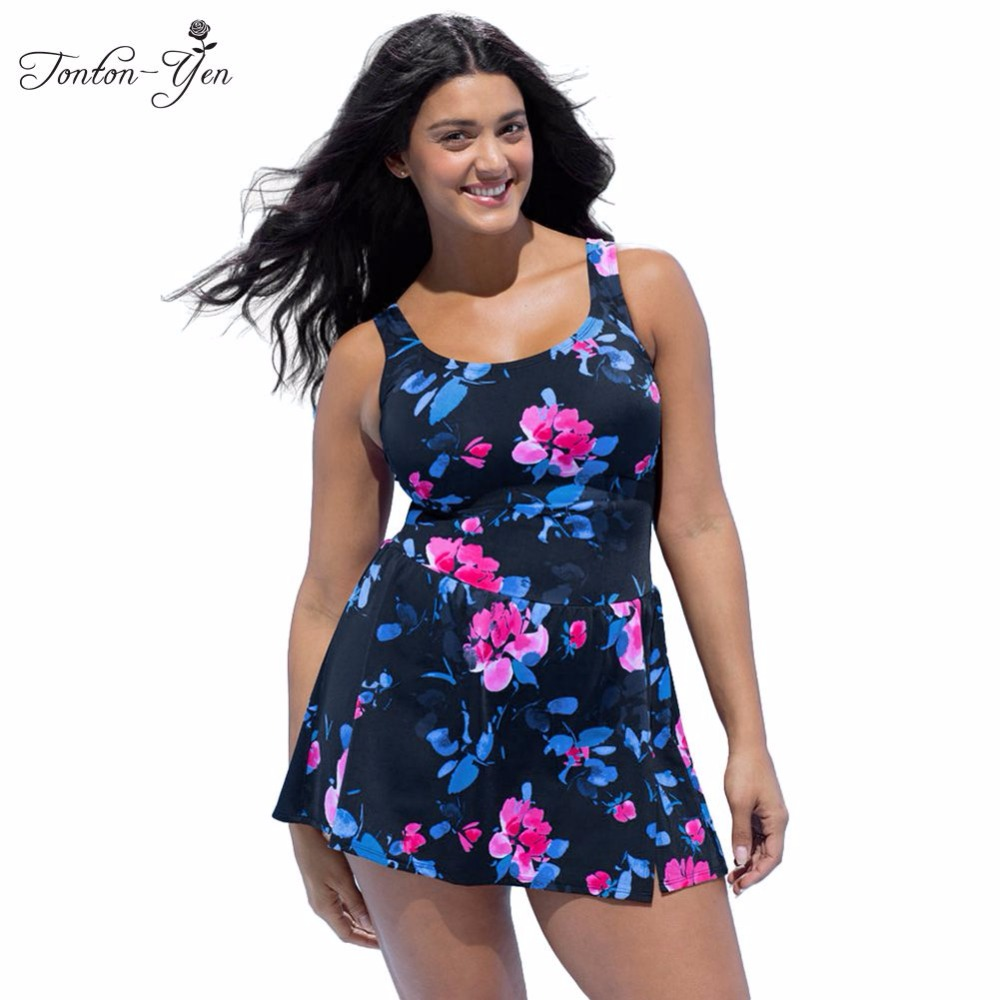 2017 New Plus Size Swimwear Women One Piece Swimsuit with Skirt Large Size Vintage Retro Fat MM Bathing Suit Swim Dress XL-4XL women one piece swimsuit cover up swimwear large size skirt swimming beachwear drape bathing suit 2017 plus size dress