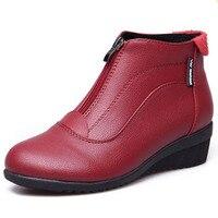 Femmes Bottes Chaussures Femme Cheville Bottes De Fourrure Chaussures Zip Dames Bottes En Cuir botas mujer Noir blanc rouge