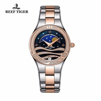 Reef Tiger/RT Luxury Women's Watches Black Dial Rose Gold Two Tone Watch Moon Phase Date Wrist Watches RGA1524