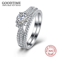 Real Solid Sterling Silver Jewrlry Wedding Bridal Sets Rings For Women Classic Style Jewelry Created Diamond