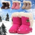 Caliente! 2016 moda niños zapatos de bebé botas de invierno niño niñas de algodón acolchado botas de nieve plana rojo rosa marrón amarillento EU20-35