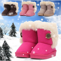 Hot! 2016 Fashion Children Shoes baby Boots Winter Boy Girls Cotton-Padded Flat Snow Boots red Pink Brown Beige EU20-35