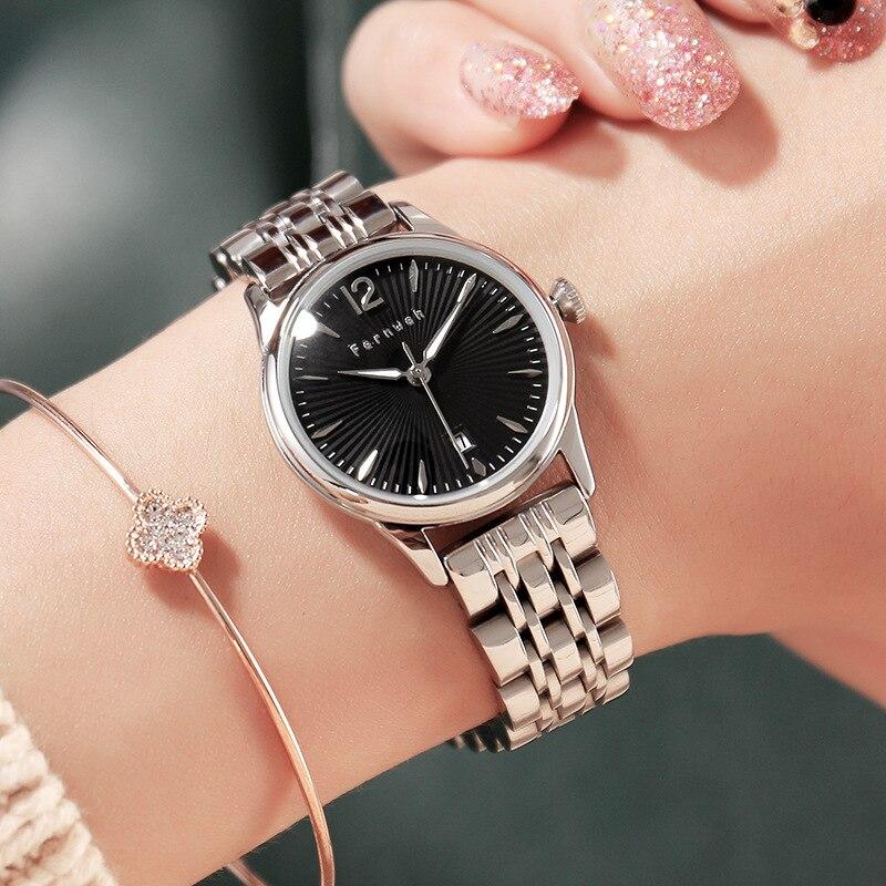 New Top Luxury Brand Watch Women high-end fine Luminous Calendar Quartz Watches all stainless steel waterproof Wristwatches Hot