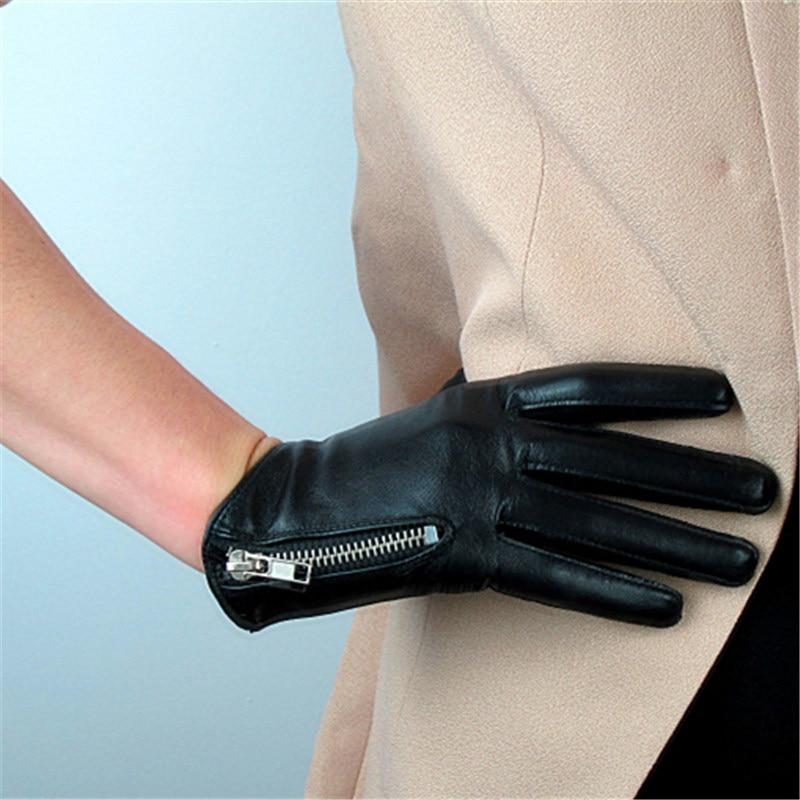 Genuine Leather Women Gloves Female Five Finger Sheepskin Gloves Short Style Fashion Elegant Zipper Design Black Red Color TB10 in Women 39 s Gloves from Apparel Accessories