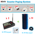 1 K-999 wireless keyboard + 30 guest pager queue system coaster pager restaurant communication system Number Calling System