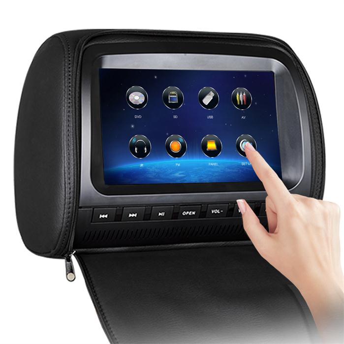 2 pièces de voiture Appui-Tête 9 ''Voiture écran tactile Appui-Tête DVD avec FM IR USB SD Sans Fil Jeu couverture de Tirette