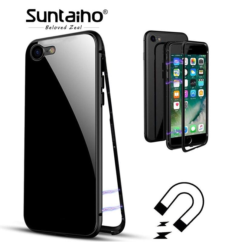 Suntaiho adsorbimento magnetico cassa Del Telefono per il iphone X per il iphone 7 per il caso di iphone 8 di caso Magnetico Vetro Temperato posteriore cassa del telefono
