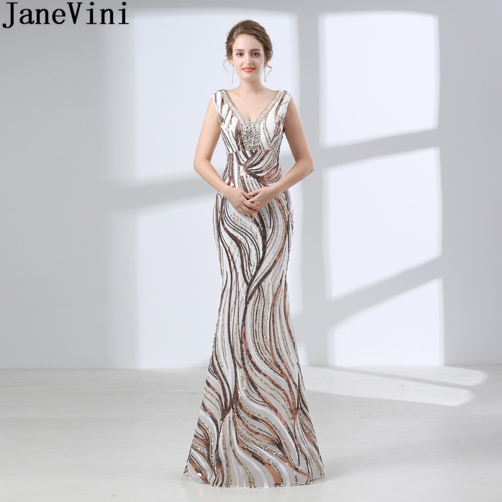 Detail Feedback Questions about JaneVini 2018 Ladies Long Mermaid  Bridesmaid Dress Beaded V Neck Wedding Party Dress Wedding Guest Gown  Suknia Na Wesele ... bfad3bf131d0