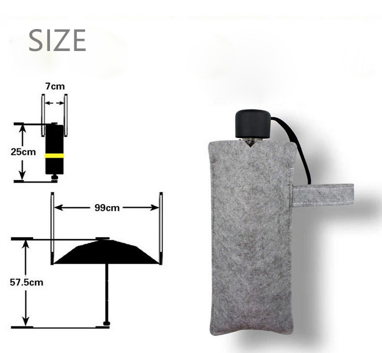 mini karbon lif üç qatlanan qara günəş yağışı şemsiye uv - Ev əşyaları - Fotoqrafiya 4
