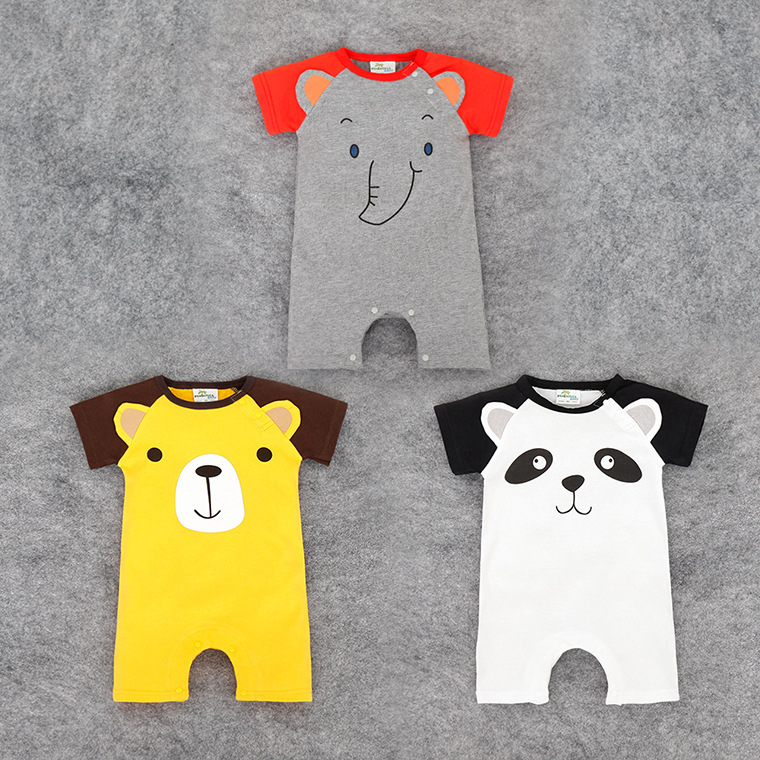 new short-sleeved unisex baby clothes baby Romper jumpsuit elephant cute animal panda climbing clothes cotton baby clothes set