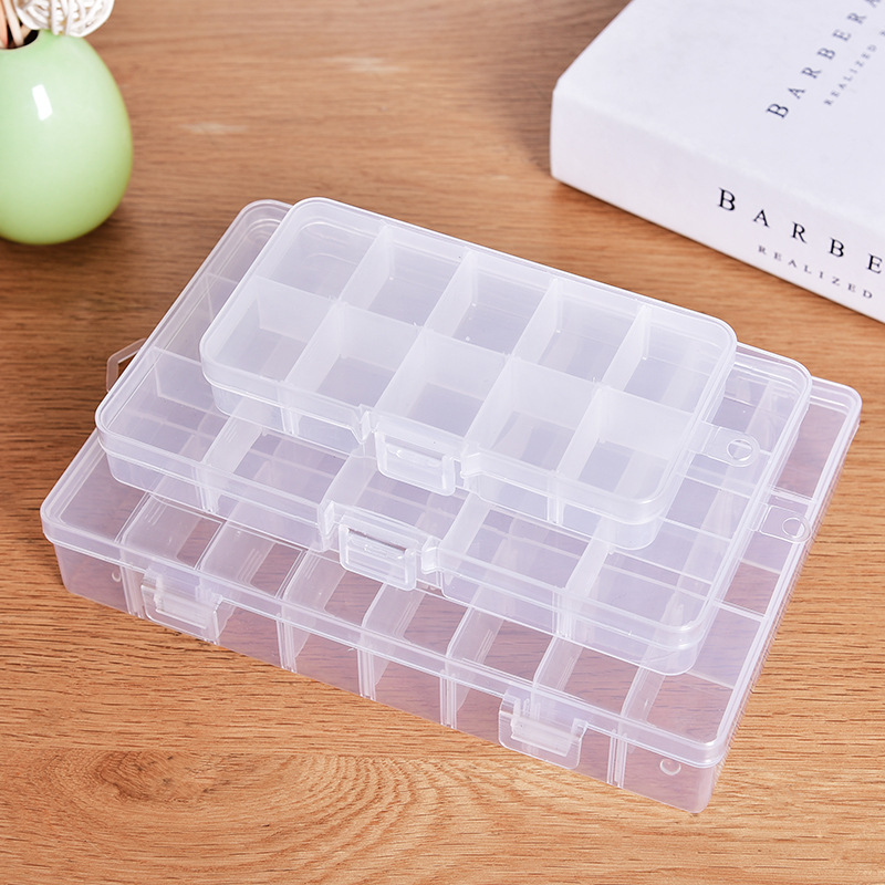 XUNZHE Storage Box 10-24 Grid Plastic Cosmetic Storage Jewel Bead Case Cover Box Storage Container Adjustable Organizer