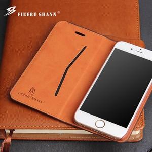 Image 3 - Флип чехол Fierre Shann из натуральной воловьей кожи для iPhone X Xs 6 6s Plus 7 8 Plus, чехол подставка для Samsung Galaxy S8 S8 Plus