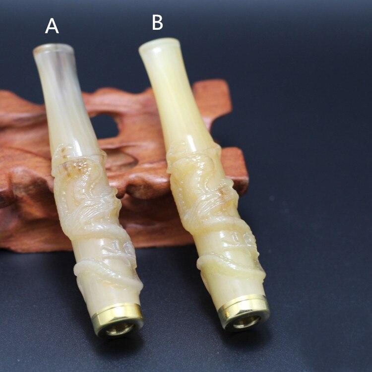 Corne Cigarette Filtre Jaune Pipe En Bois De Rose Sculpture Fine Loong Pull Rod Cyclique De Filtration En Bois Titulaire W/Cadeau Boîte COH09