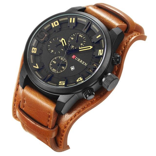 Relogio Masculino Mens relojes Top marca de lujo correa de cuero deporte hombres reloj de cuarzo militar hombres reloj Dropship Curren 8225