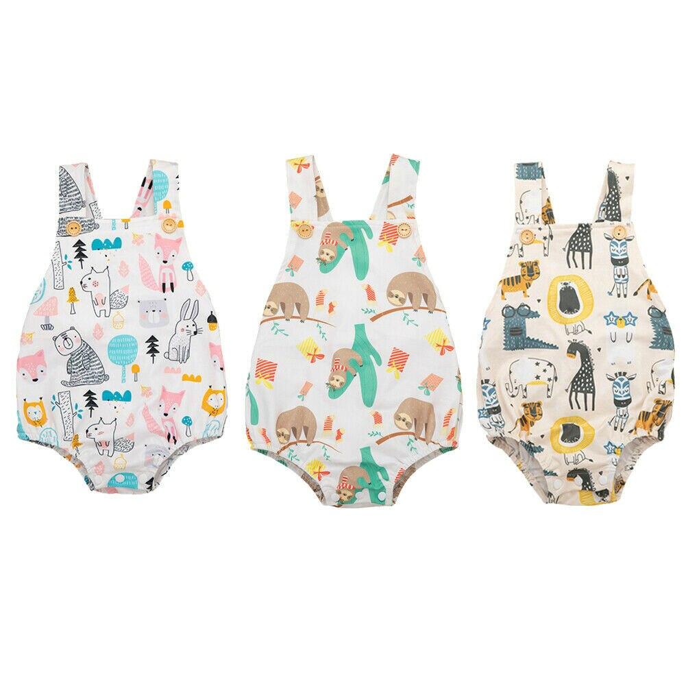 Cute Newborn Baby Boy Girl Sleeveless Cartoon Animal Print Cotton Bodysuit Jumpsuit Playsuit Outfits Summer Clothes