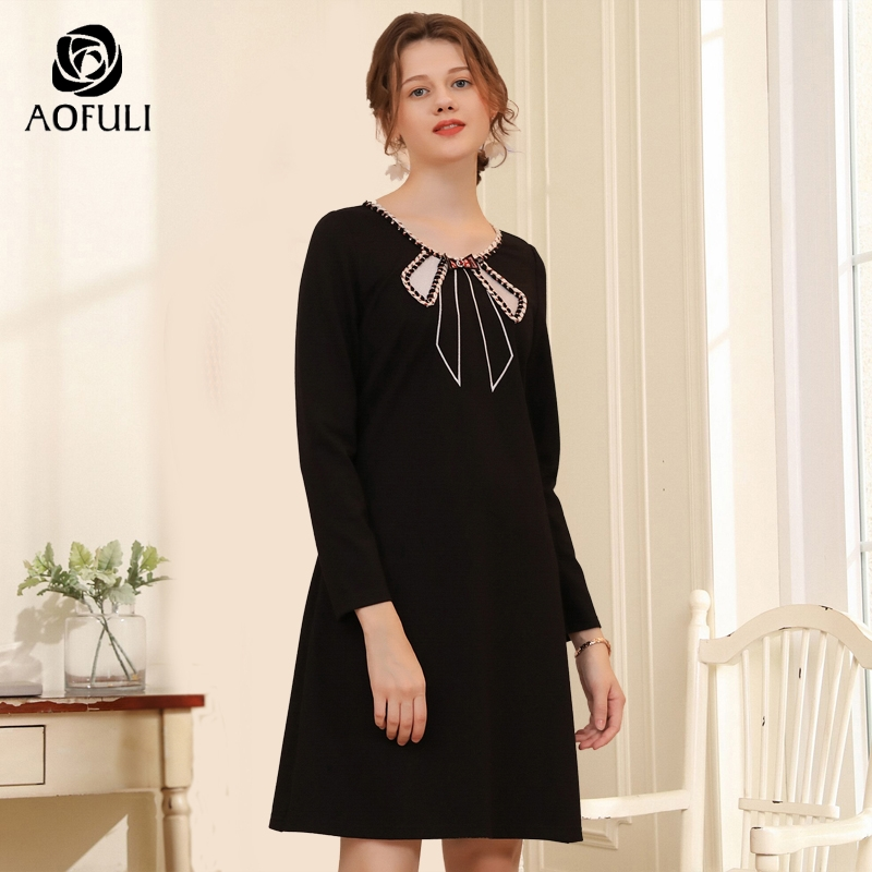 AOFULI bow tie applique lady casual dress for autumn winter Plus size long sleeve knee length