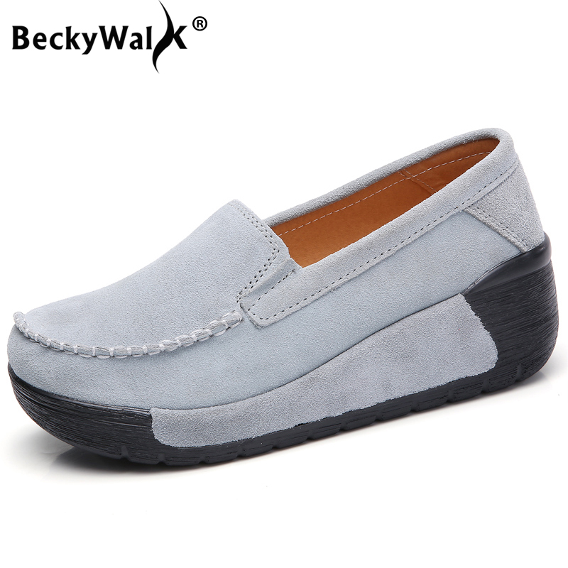 BeckyWalk 2018 New Autumn   Suede     Leather   Women Flats Shoes Women Sneakers Platform Slip On Shoes Woman Moccasins   Leather   WSH2895