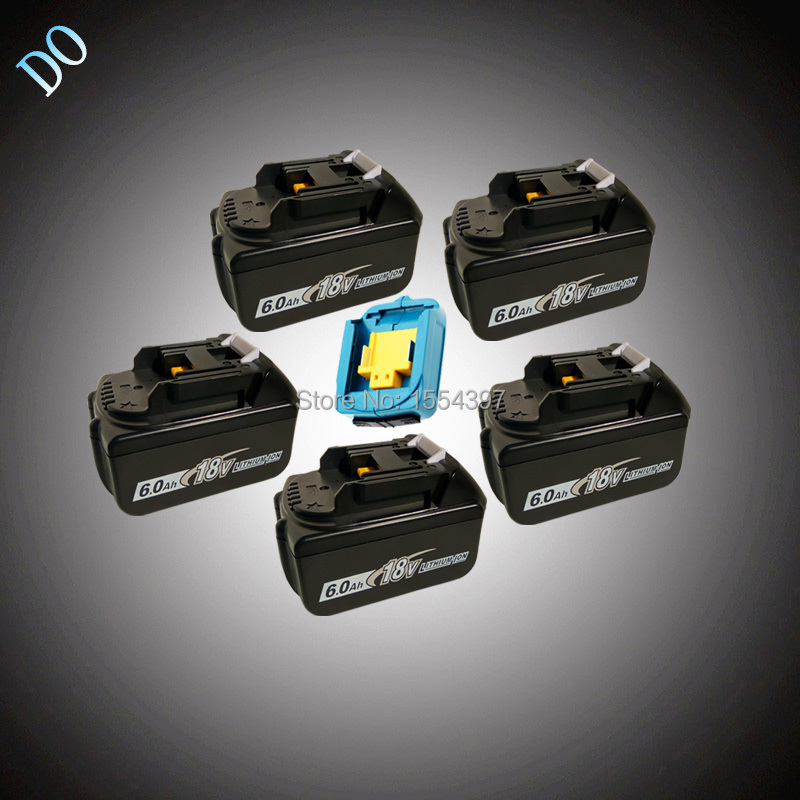 5PCS 18V BL1860 Li-ion 6000mAh with USB Charger Replacement for Makita 18V BL1840 BL1830 BL1850 Rechargeable Power Tool Battery aimihuo 18v rechargeable battery 6ah 6000mah li ion battery replacement power tool battery for makita bl1860 eu us uk au charg