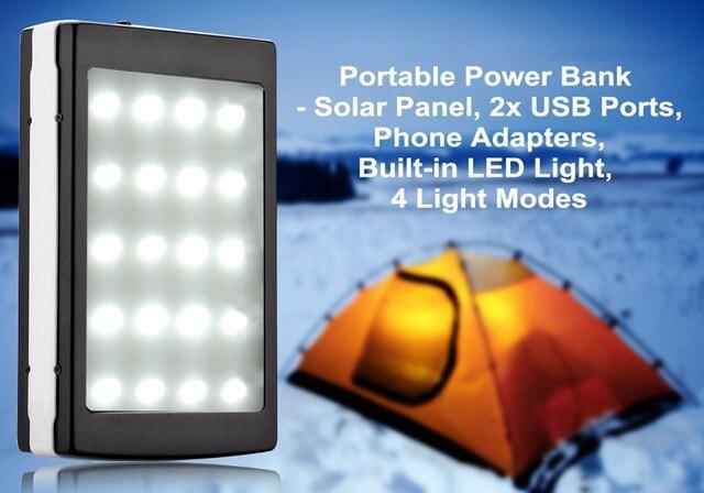 Новый Настоящее 12000 мАч солнечная энергия банк dual usb солнечное зарядное устройство powrrbank с 20 шт. LED Camping Свет