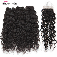 Ishow Hair Water Wave Bundles Indian Hair Weave 3 Bundles With Closure More Wavy Non Remy