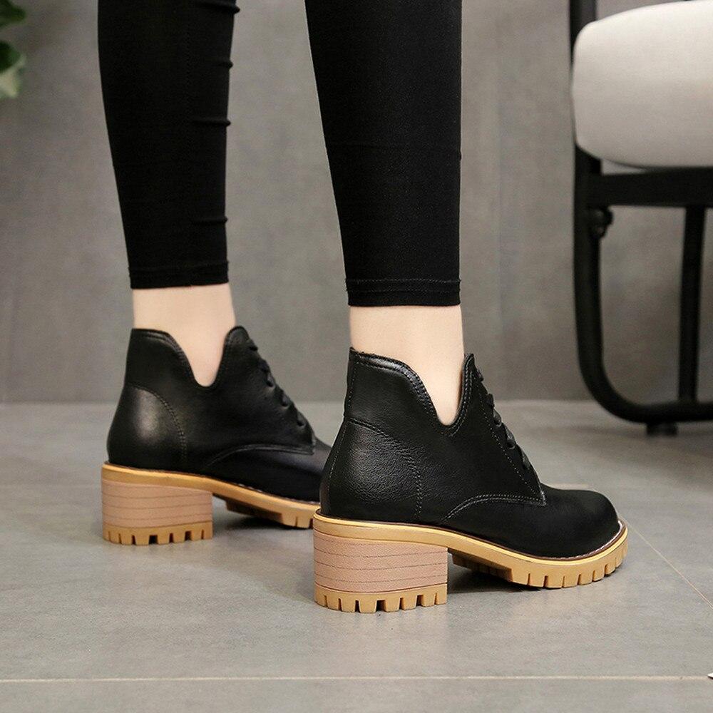 Chaussures 2018 Feminina Femmes marron Talons Hauts Bota Cuir Casual Noir En À Noir Bottes Youyedian D'hiver Bottines Lacets qzwxEZ